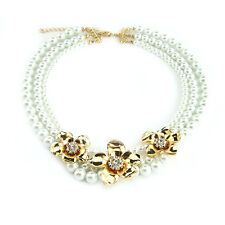 Women Statement Choker Layers Necklace Gold Crystal Flower Pearl Fashion Jewelry