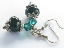 Dark Green Bead Earrings Lampwork Glass Dangle and Drop