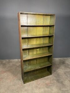 Large Early Victorian Green Oak Bookcase