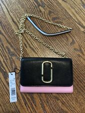 MARC JACOBS SNAPSHOT LEATHER WALLET ON CHAIN LINK BAG PURSE BLACK BABY PINK $265