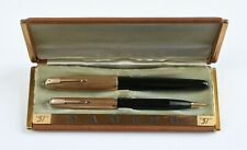 Parker 51 1/10 14K Gold Filled Fountain Pen & Mechanical Pencil Set in Case