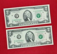 2 CONSECUTIVE 2003 $2 FRN FEDERAL RESERVE NOTE CH UNC DOUBLE REPEAT SERIAL #S