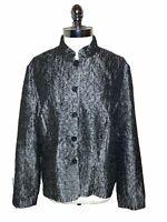 COLDWATER CREEK Size XL Jacket Gray Black Shiny Crinkle Long Sleeve