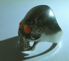 Skull Ring Sterling Silver 925 Carnelian
