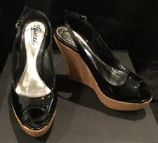 GUCCI - As NEW - Classic Black Patent Peep Toe Wedges - sz 39.5
