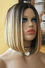 Lace Front Wig Perücke Spitzenperücke Ombre braun blond glatt halblang bob