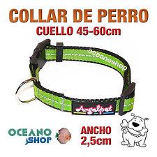 COLLAR PERRO VERDE TEJIDO REFLECTANTE AJUSTABLE DE CALIDAD CUELLO 45-60 L83 3373