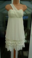 COAST SHANNON IVORY 1-SHOULDER RUFFLE PLEAT CHIFFON DRESS 8 £160 BNWT