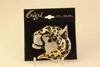 Vtg Gigi Paris New York Enamel Gold-Tone w Rhinestone Jewelry Cheetah Brooch Pin