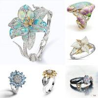 Fashion 925 Silver Flower Fire Opal White Topaz Ring Women Wedding Jewelry Gift