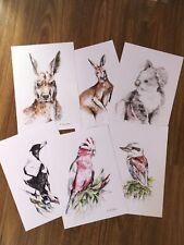 Australian Art Watercolour Prints 3 Animals, 3 Birds