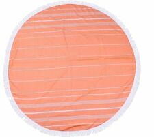 2 Round Turkish Beach Towels - Buy 2 Save £5 - Orange / Any 2 Colours 100% Cotto