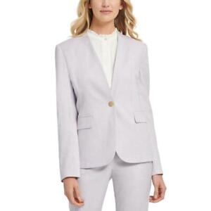 DKNY Womens Collarless Pinstripe Office One-Button Blazer Jacket BHFO 7462