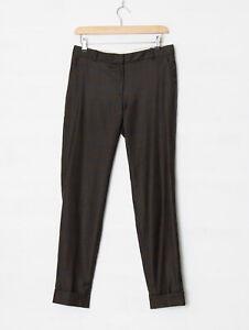 Jigsaw UK 10 Window Check London Fit Wool Trousers Slim Fit Chocolate