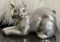 "Vintage Pewter & Brass 7"" Cat Decor Figure Figurine Retro Heavy"