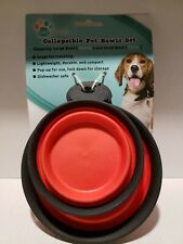2 Pet Bowls 7.8 & 16.9 oz. Collapsible Travel Compact -  Red