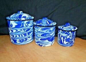 "3 Pc BLUE & WHITE SWIRL Enamelware CANISTER SET 6"", 5"", 4"" exc"