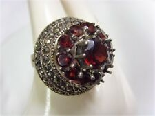 antique ooak large sterling silver read garnets marcasite ring 10.5 size 50225