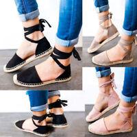 Women Lace Up Sandals Flat Casual Espadrilles Pumps Ankle Strap Party Shoes Size