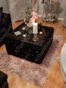 Crushed Velvet Chesterfield Storage Upholstered Glass Top Coffee Table
