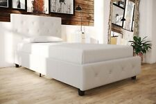 White Faux Leather Platform Bed With Headboard