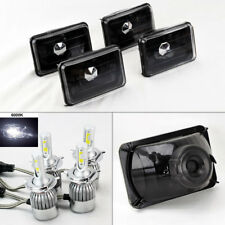 "FOUR 4x6"" Semi Sealed Glass Black Headlights w/ 6000K 36W LED H4 Bulbs Oldsmob"