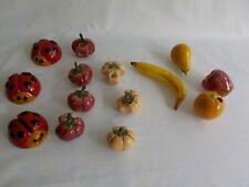 Ceramic Macrame Beads Ladybug Fruit Banana Apple Orange Pear Mixed Lot 14