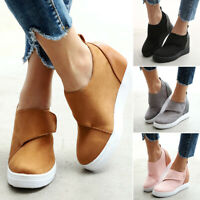 Womens Ladies Slip On Wedge Heel Sneakers Sport Casual Platform Ankle Boots Size