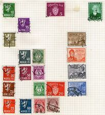 Norway Stamp Collection on Old Album Page  -  Used