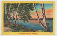 1953 Postmarked Postcard Greetings from Oxford Pennsylvania PA Lake with trees