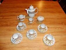 MCM ART-DECO  HENNEBERG PORZELLAN  1777 GDR ATLAS  ESPRESSO DEMITASSE SET FOR 5