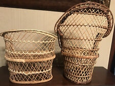 "Vtg Lot Wicker Peacock Rattan 16"" Chair & Sofa Doll Plant Stand Boho Decor"