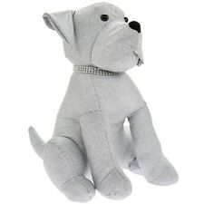 Sparkly Silver Bling Sitting Dog Doorstop