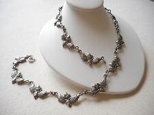 Gorgeous Vtg Danecraft Sterling Repousse Acorn Oak Leaf Link Necklace   RE8500