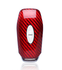 Red Real Carbon Fiber Keychain Fob Smart Key Case Cover For Ford Mustang Manual
