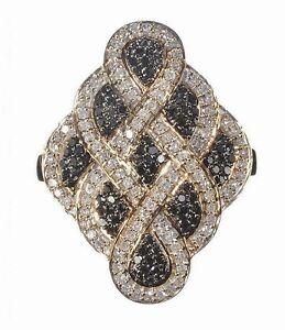 Yellow Gold Black And White Diamond Dress Ring