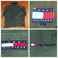 Tommy Hilfiger Men's Green And Blue Full Zip Cotton Jacket Size Large