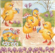 2 Serviettes en papier Poussins de Pâques Decoupage Paper Napkins Easter Chicken