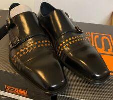 BRAND NEW -Steven Land Leather Dress Shoes SL0015-BLACK / SCOTCH SZ-10
