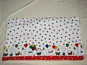 Carters Primary Color Teddy Bear Circus Clown Balloon Heart Flannel Valance