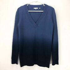 """Vince Cashmere V-neck Sweater Pullover Blue Navy Fade Women's S/M 19"""" Chest"""