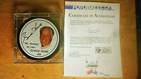 GORDIE HOWE SIGNED PHOTO PUCK  714/1946 100% CERTFIED 5 DECADES OF EXCELLENCE