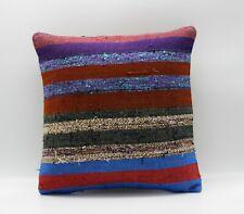 Handmade Turkish Decorative Vintage Kilim Pillow Cover 16'' X 16'' (40x40 cm )
