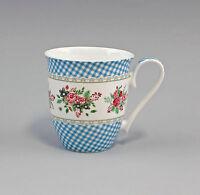 "Porzellan Becher/Tasse Dekor ""Blüten blau kariert"" Jameson&Tailor 9952295"