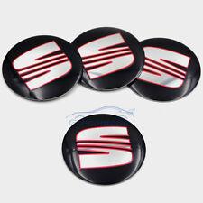 4x Seat Wheel Center Cap Badge 56mm Black Ibiza Leon Cupra Alhambra Toledo Altea