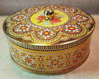 "Vintage Daher Round Collectible Tin Embossed Floral Knob Lid 7"" Dia 3"" Tall"