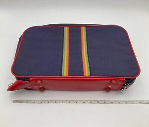 Vintage Pride Rainbow Stripe Small Blue / Red Luggage Hand Bag Suitcase