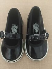 VANS TODDLER GIRLS -SIZE 4-BLACK PATENT LEATHER MARY JANE SNEAKERS/SHOES