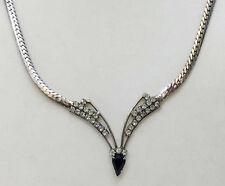 """Herringbone Chain Silver Tone Metal 17"""" V Necklace Clear & Onyx Black Rhinestone"""