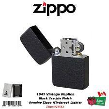 Zippo 1941 Vintage Replica Pocket Lighter, Black Crackle, Windproof #28582
